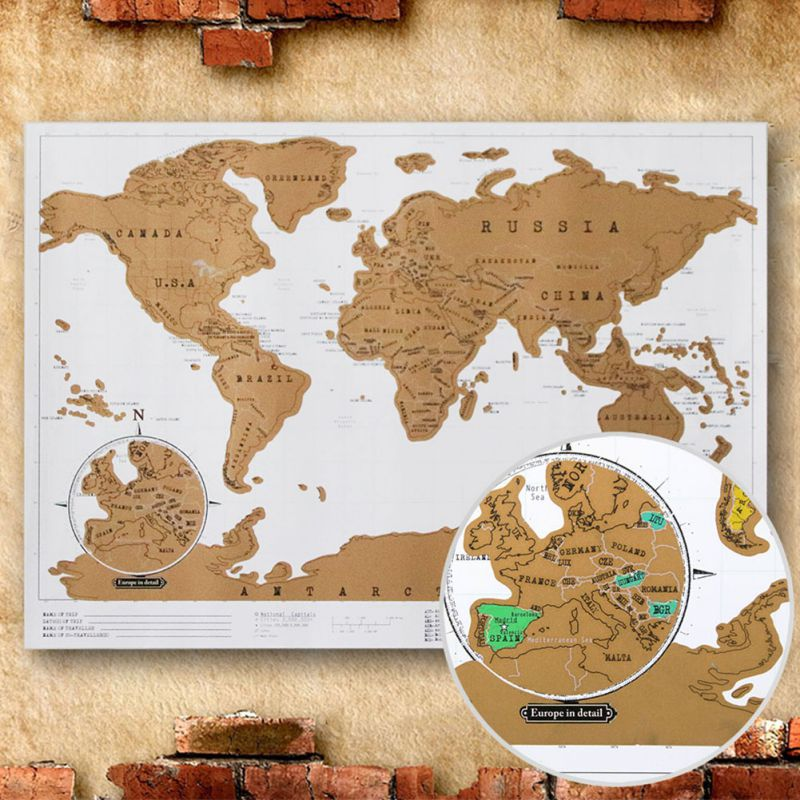Send From USA Mini World Map Travel Notes City Edition Map Black - Framed world scratch map