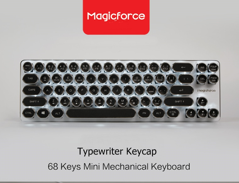 Magicforce Mini 68 Key Vintage Typewriter Edition Wired Mechanical Keyboard Cherry Blue Switches