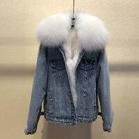 Новое поступление женские зимние меховые деним Куртки пальто в Корейском стиле теплые короткие пальто D850
