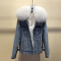New arrival women winter Fur Denim jackets coat Korean style warm short coat D850