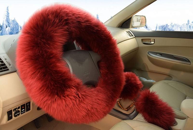 Winter Warm Wool Handbrake Cover Gear Shift Cover Steering Wheel Cover 38cm diameter 1 Set 3 Pcs 8