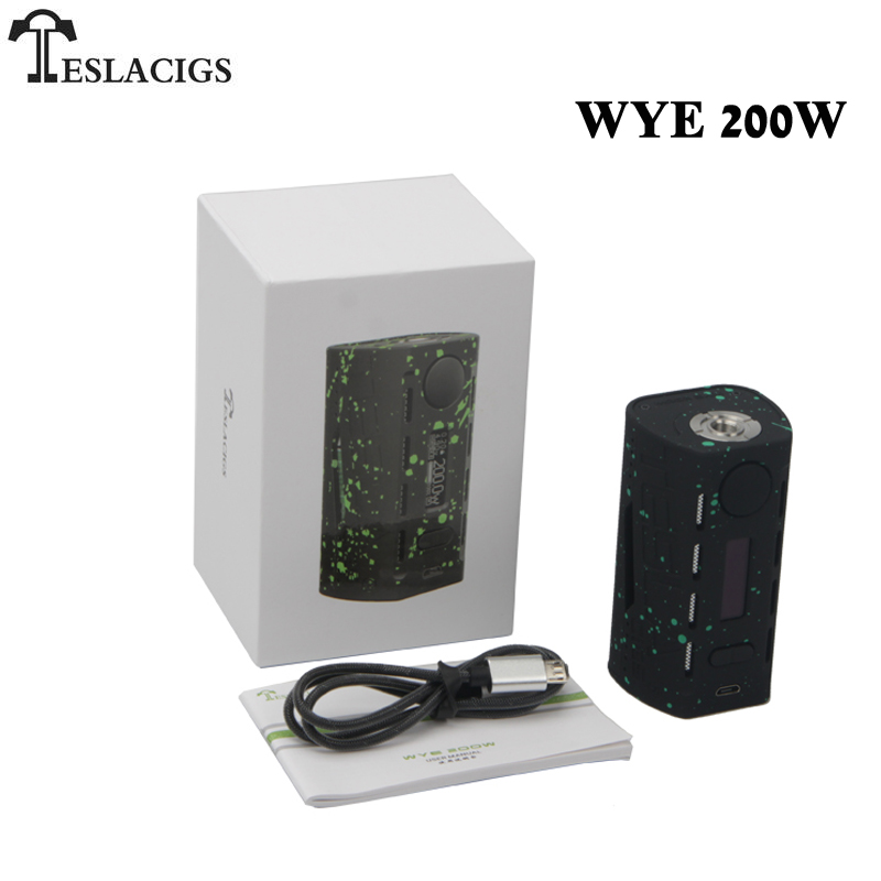 Original TESLACIGS Tesla WYE 200W Box Mod Vaporizer For 510 Thread Vape 18650 Electronic Cigarette Mods
