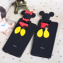 3D Cute Cartoon Mickey Minnie Mouse Soft Silicone Black Color Cover Case for Huawei Ascend P9 Mate 8 Honor Fundas Coque Capa