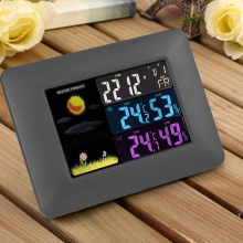 On sale Multi-functional Wireless Digital Thermometer Hygrometer Colorful LCD Weather Forecast Clock with Alarm Snooze Calendar Function