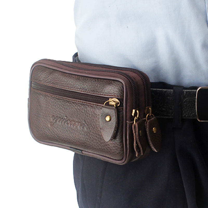 Men Leather Vintage Fanny Pack Waist Leg Money Bag Women Travel Cell Mobile Phone Case Cover Belt Pouch Purse New