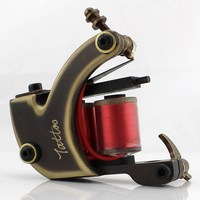 Professional Handmade Brass 10 Wrap Coils Tattoo Machine Brass Frame For Liner / Shader Coloring Supply For Tattoo Freshman