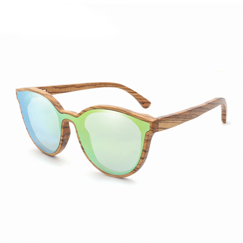 2018New Product Cat Eye Wood Sunglasses Women/Men Round Bamboo Sun Glasses Zebra Wooden Frame Free Shipping