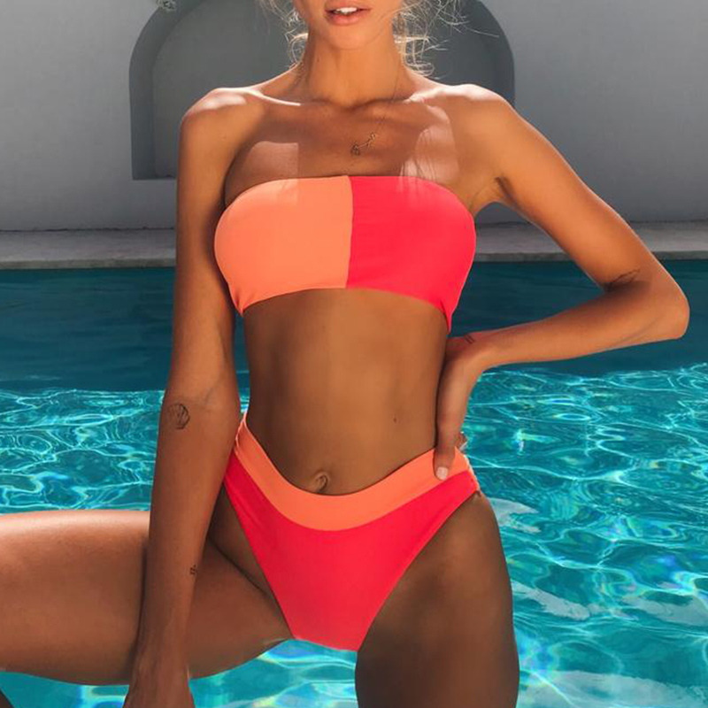 High waist sexy bikini 2019 new Bandeau female swimsuit strapless bathing suit Push up high cut swimwear women Summer beach wear 2