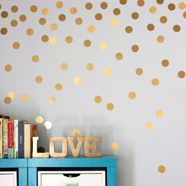 Stickers Home Interior Wall Stylish Gold Dots Wall Sticker Round Dot Pattern Decal Home Interior Decoration for Living Bed Room