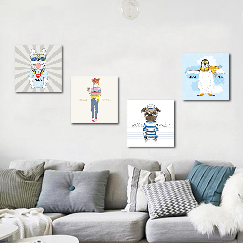Unframed Canvas Painting Cartoon Animal Portrait Prints Wall Pictures For Living Room Wall Art Decoration 2018 Dropshipping