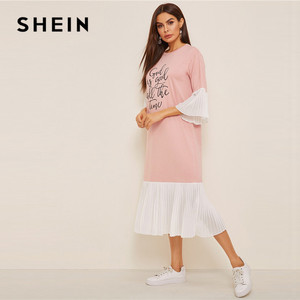 Image 3 - Shein slogan impressão plissado plissado hijab vestido de verão feminino casual solto flounce manga midi vestido rosa meia manga vestido longo