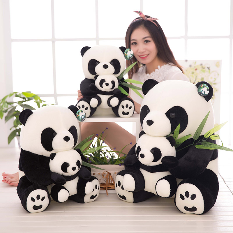 25CM/33CM Sitting Mother and Baby Panda Plush Toys Stuffed Panda Dolls Soft Pillows kids toys Good Quality Free Shipping FJ88
