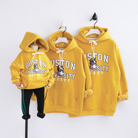 HT2049 Spring Autumn Winter Clothing Mother Father Baby Family Matching Outfits Child Warm Fleece Sweatshirt Hoodies Kids Tops