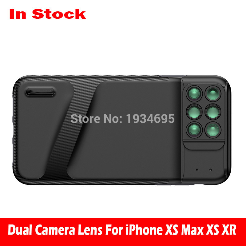 New For iPhone XS Max Dual Camera Lens 6 in 1 Fisheye Wide Angle Macro Lens