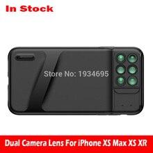 Nowy dla iPhone XS Max podwójny obiektyw do aparatu 6 w 1 obiektyw typu rybie oko szeroki kąt obiektywu makro dla iPhone XS XR Xs Max teleskop Zoom soczewki