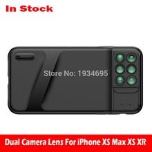 ใหม่สำหรับ iPhone XS Dual Dual เลนส์กล้อง 6 in 1 Fisheye มุมกว้างเลนส์มาโครสำหรับ iPhone XS XR xs Max กล้องโทรทรรศน์ซูมเลนส์