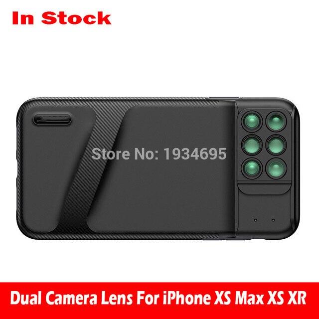 새로운 iphone xs max 듀얼 카메라 렌즈 6 in 1 fisheye 와이드 앵글 매크로 렌즈 iphone xs xr xs max 망원경 줌 렌즈