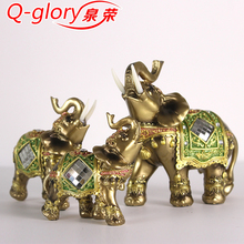Q-glory Lucky Feng Shui Elegant Elephant Figurine Trunk up Elephant Statue Crafts Ornaments for Home Office Desktop Decor Gift