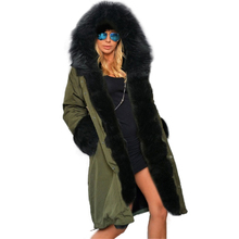 Women's winter warm jackets Female Long Cotton Jackets Coats Windbreaker Long basic Faux Fur Hats Coat Winter Parka Overcoats