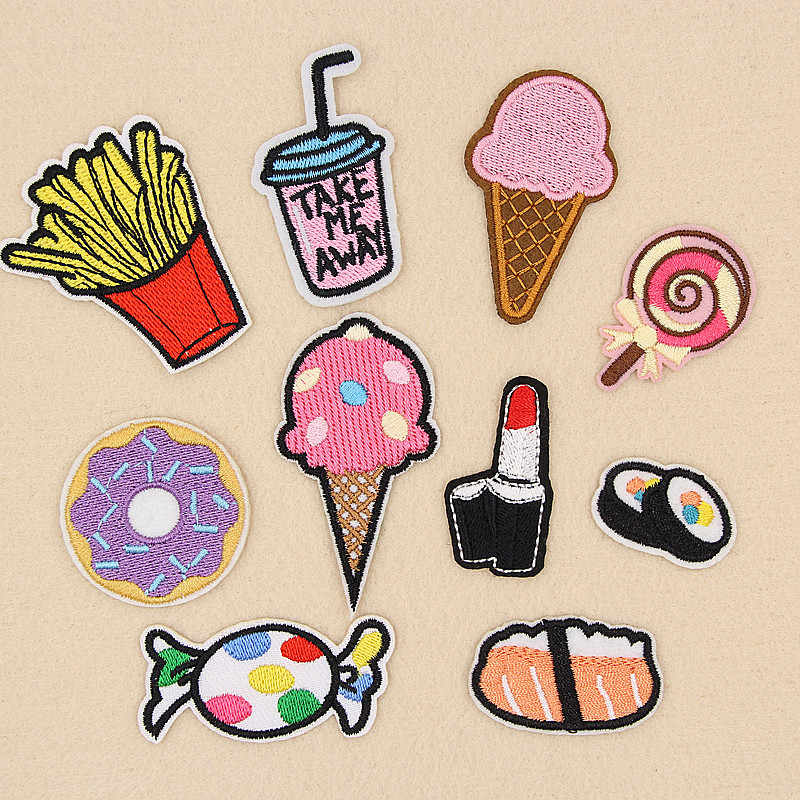 Doughnut Drink Ice Cream Salmon Candy Embroidery Patches for Clothing Iron on Clothes Jeans Appliques Badge Stripe Sew Sticker