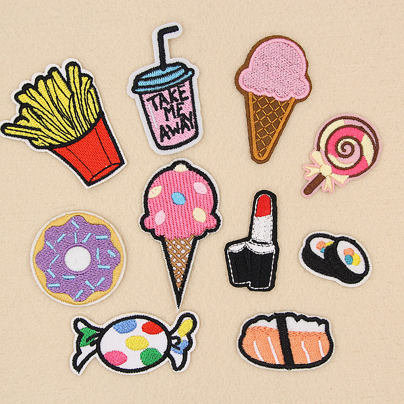 Doughnut Drink Ice Cream <font><b>Salmon</b></font> Candy Embroidery Patches for Clothing Iron on Clothes <font><b>Jeans</b></font> Appliques Badge Stripe Sew Sticker