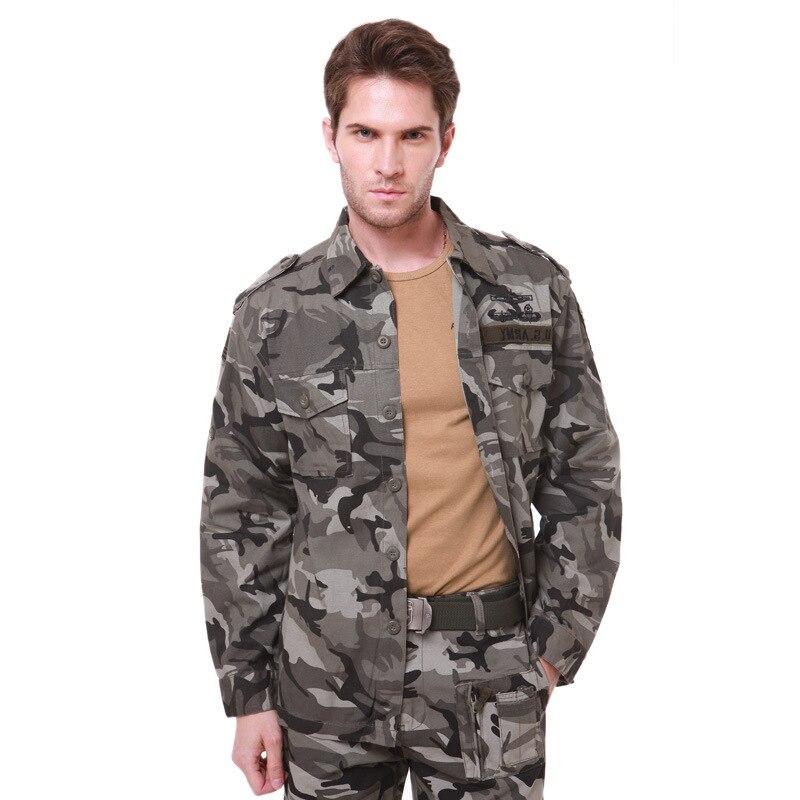 Haute qualité coton hommes Style militaire Usa armée Camouflage chemises de combat chemises Cargo printemps et automne décontracté à manches longues