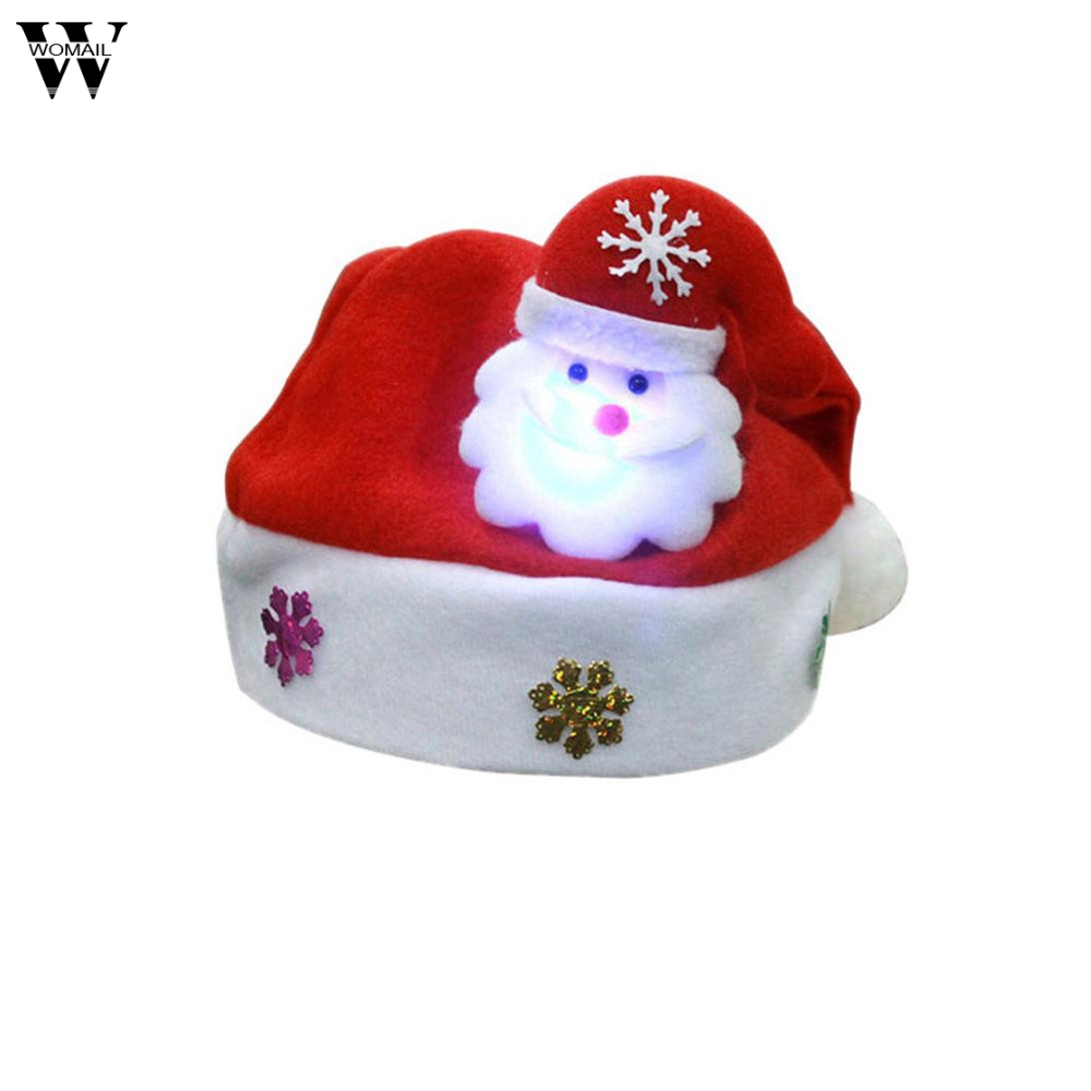 Womail Happy Christmas Adult LED Hat for Christmas 2018 Fashion Xmas Hat Santa Claus Reindeer Snowman Xmas Gifts Cap Nov29