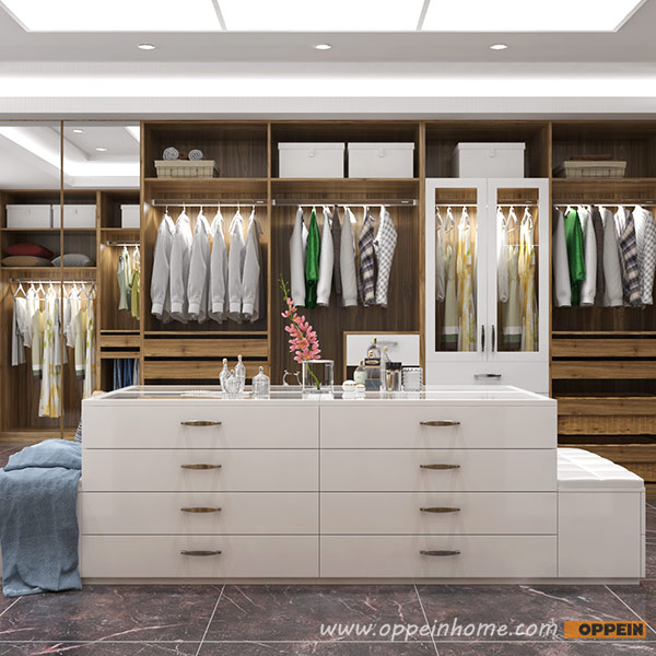 Дизайн Oppein роскошная вилла под дерево дизайн гардеробной YG16-M08