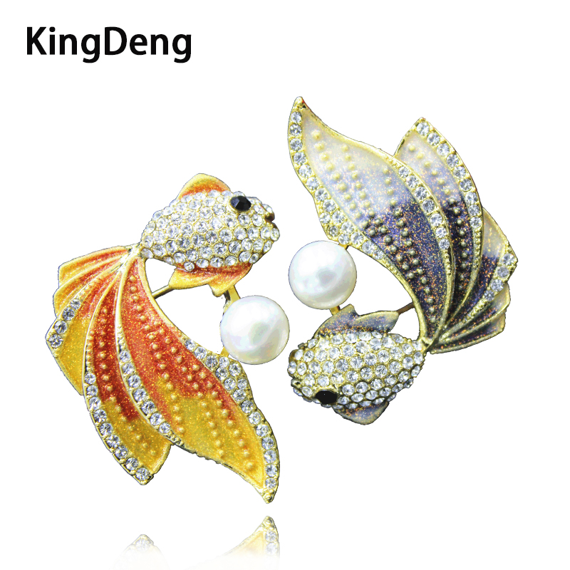 Fish Brooch Vintage Pearl Cute Animal Rhinestone Accessories 2018 Brooches For Women Lapel Pearls Pin Jewelry Enamel Pins vintage red rhinestone bean sprout brooch for women