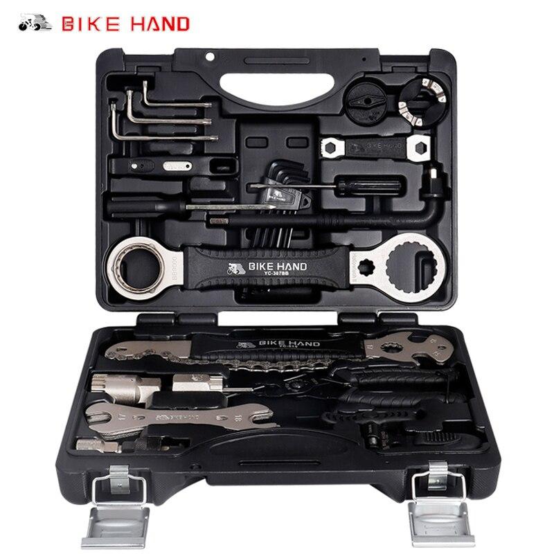 BIKEHAND YC-721 、 YC-728 Kit de herramientas de servicio de bicicleta 18 en 1 caja para manivela BB soporte inferior buje Pedal de rueda libre radios Reparación de cadena