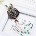 Hot Sale Luxurious Beaded Tassel Women Necklaces Flower Hollow Out Ethnic Arabesque Jewelry Wedding Party Necklace Festival Gift