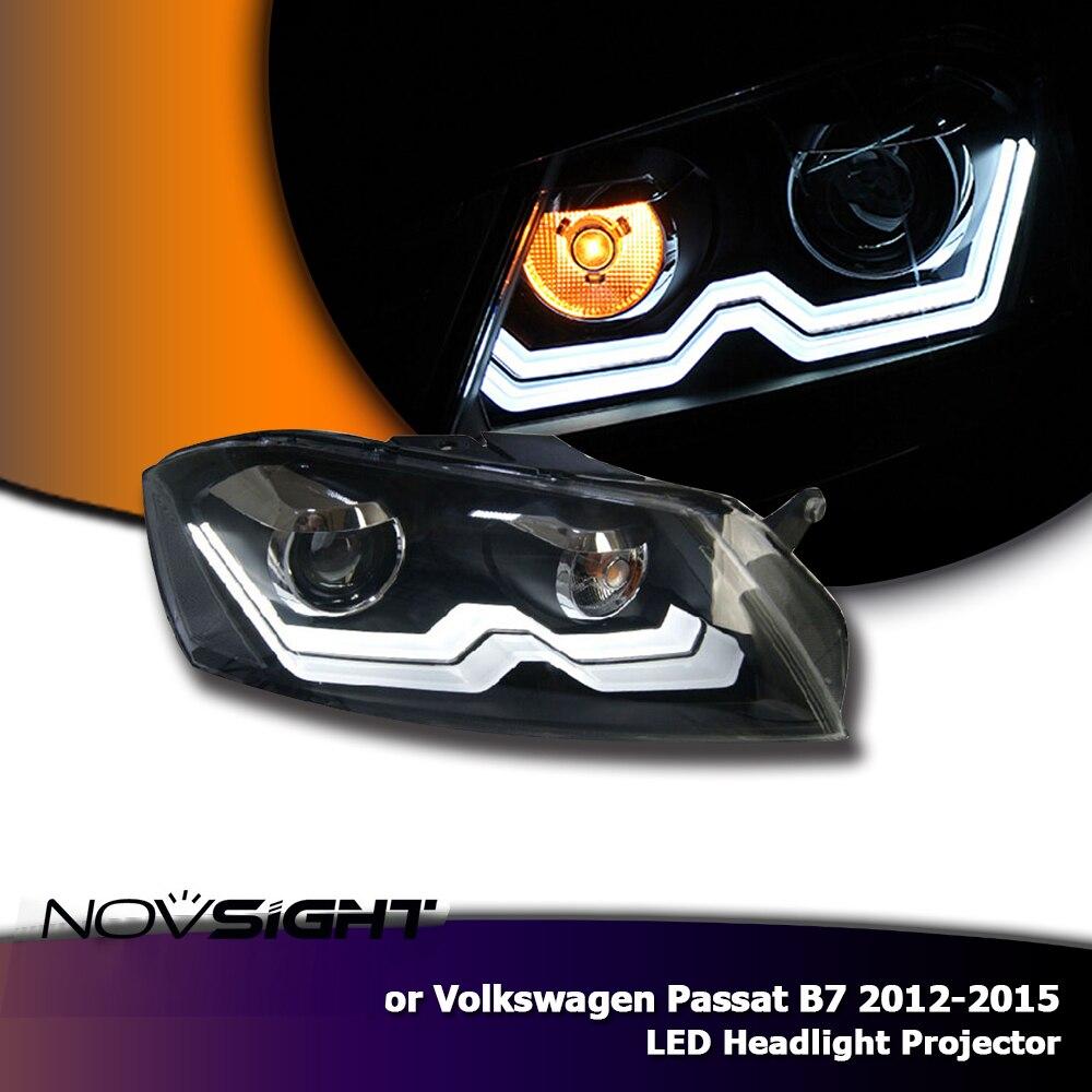 NOVSIGHT 2X LED Auto Headlights Projector Headlamp Assembly Fog Light DRL For VW Passat B7 2012-2015 h11 led headlight cob 72w car led headlights bulb fog light white yellow auto headlamp for toyota vw hyundai kia chevrolet mazda