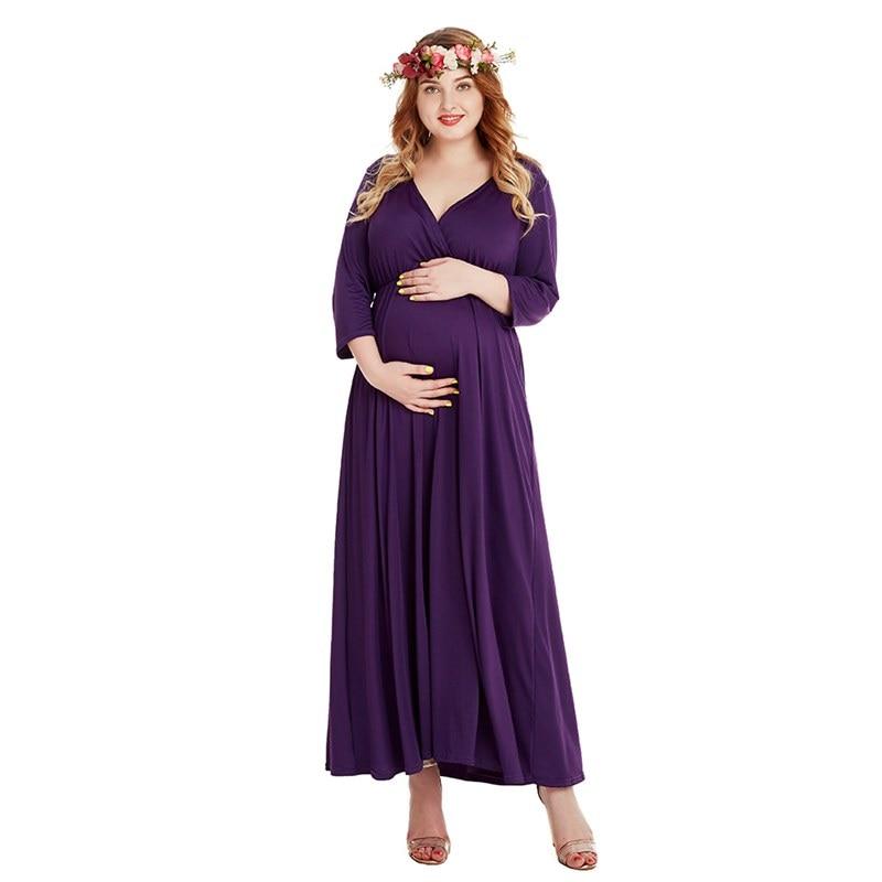 Muababy для беременных, с длинным рукавом платье для беременных женщин с рюшами с v-образным вырезом вечернее, макси платье леди одежда для фото...
