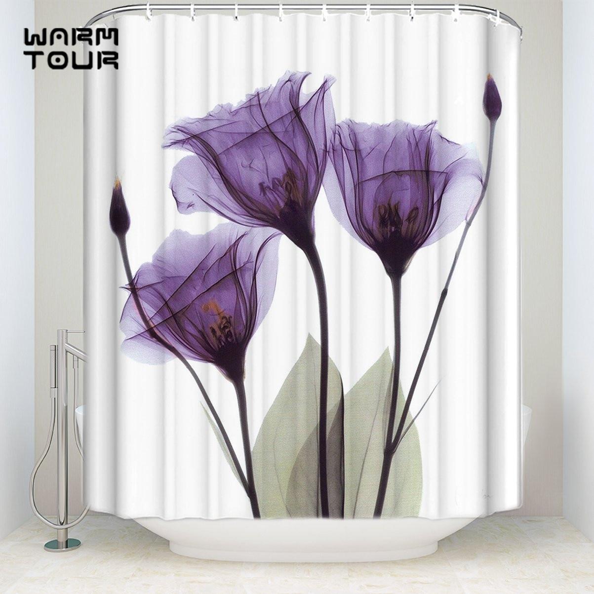 Bath Shower Curtains Home Decoration Contemporary Elegant Lavender Hope Flowers Mildew-resistant Bathroom Sets with Hooks