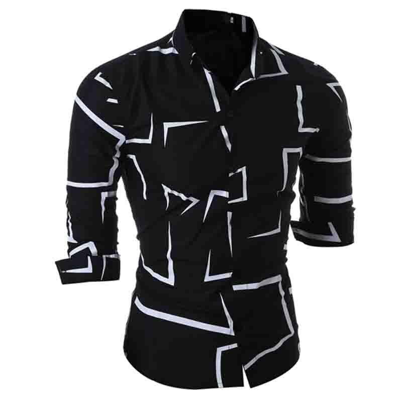 Новинка 2018 г. Весенние Дизайн модная одежда мужская рубашка с длинным рукавом геометрический Camisa социальной тонкий вечернее платье Slim Fit Му
