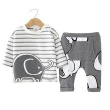 цены Newborn Baby Clothing Sets Girls Boys Clothes Cute Animal Elephant Long Sleeve Striped T-shirts+Pant 2pcs Suit Roupas De Bebes