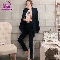 HAGEOFLY Dark Blue Blazer Suit Women Business 2 Piece Interview Suit Set Uniform Long sleeved Blazer and Pencil Pant OL Suits
