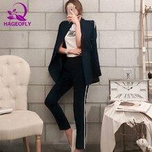 Hageofly темно-синий Блейзер костюм Для женщин Бизнес 2 шт. интервью костюм комплект форма с длинными рукавами Блейзер и карандаш брюки пр костюмы