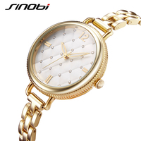 SINOBI Brand Women Watches 2017 Luxury Gold Quartz Watch Women Fashion Bracelet Watches Elegant Waterproof Montre
