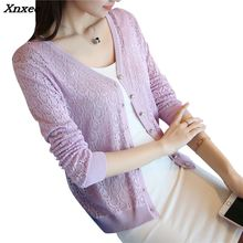 special price, thin knitted sweater, womens cardigan jacket, 2018 summer sunscreen, short air conditioning shirt Xnxee