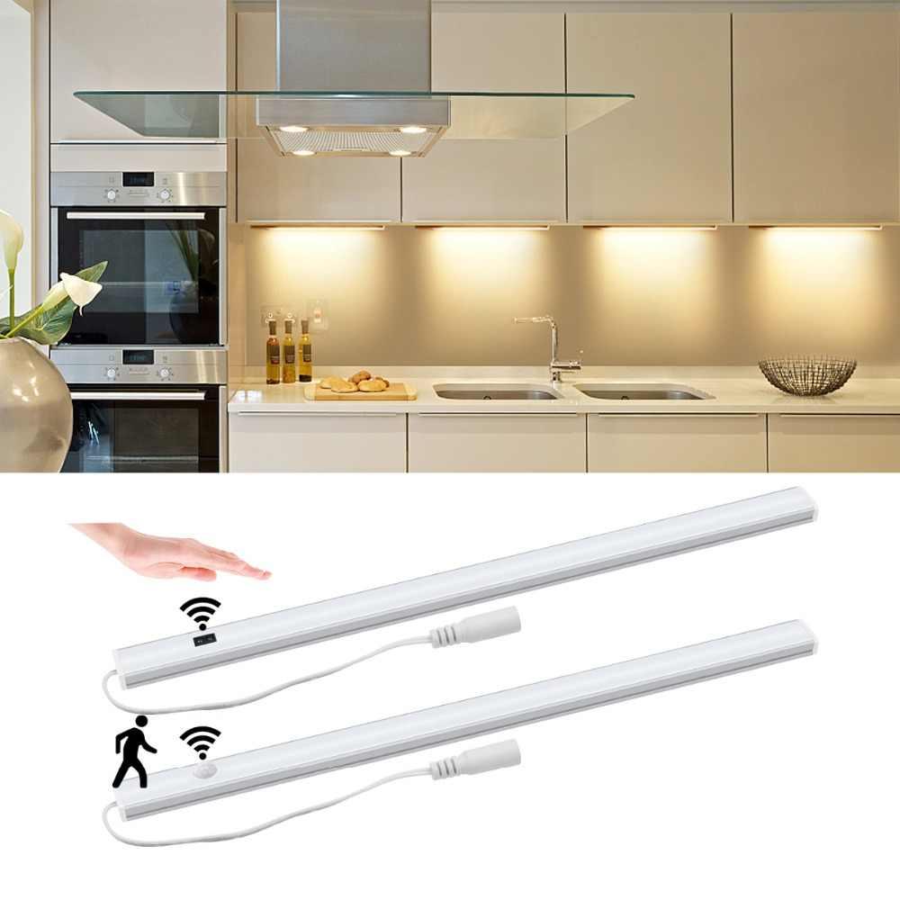 50 см 12 В DIY светодиодный освещение для шкафа-буфета умный ручной развертки волна/PIR датчик движения вкл/выкл переключатель жесткая бар свет наклейка на шкаф
