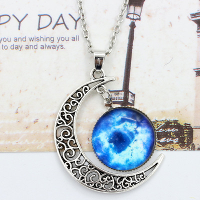 2018 Gothic Women Space Stars Pendants Long Necklace Chain Circle Metal Jewel Pendant Vintage Moon Choker Necklaces Accessories