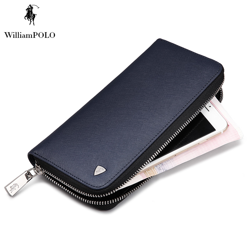 ФОТО WILLIAMPOLO 2017 High Quality Corss Pattern Mens Long Wallet Genuine Leather Travel Wallet POLO119