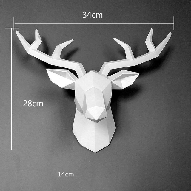 Home Statue Decoration Accessories 34x28x14cm Vintage Antelope Head Abstract Sculpture Room Wall Decor Resin Deer Head Statues 2