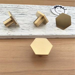 LCH Nordic Style Hexagon Solid Brass Cabinet Knob Cupboard Handle Door Pull Handles SimpleLife Brass Color Entryway Clothes Hook(China)