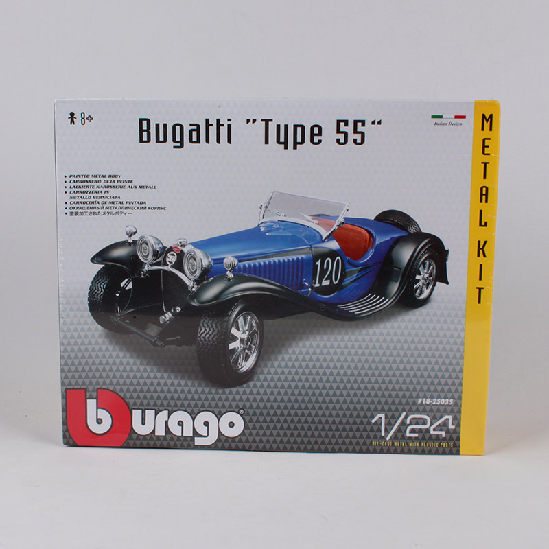 Bburago 1:24 bugatti type 55 voiture moulé sous pression en métal kit bleu classique voiture modèle ensemble manuel assembler voiture jouet 25035