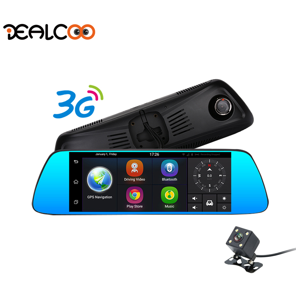 Dealcoo 3G Dash Cam 7 Android 5.0 1080P FHD Dual Lens Rearview Mirror Car Camera DVR Registrator GPS Parking Video Recorder
