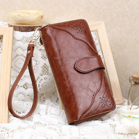 Lace Genuine Leather Womens Wallets And Purses Zipper Lady Leather Purses Clutch Purse Cow Leather Vintage