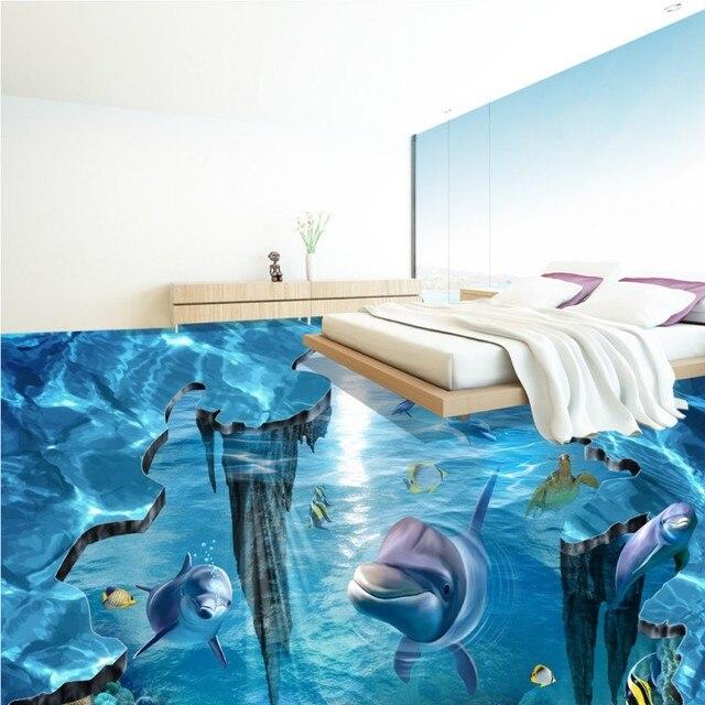 Aquarium Bed Part - 49: Free Shipping Fantasy 3D Stereo Underwater World Flooring Painting Aquarium  Bedroom Self-adhesive Floor Wallpaper