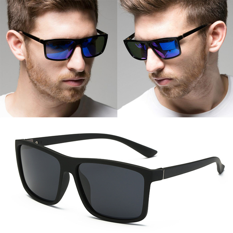 RBUDDY 2019 Cermin mata hitam lelaki Polarized persegi cermin mata hitam Reka bentuk jenama UV400 perlindungan Shades oculos de sol hombre gelas Pemandu